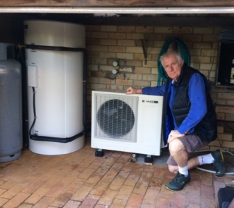 Lester Bishop with his new Sanden Heat Pump